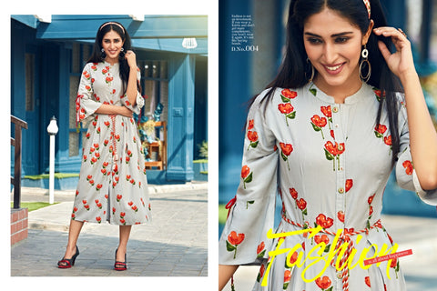 VESH PRESENTS CANDY CRUSH RAYON SUMMER PRINT KURTI COLLECTION