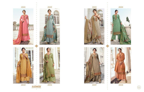 ZUBEDA PRESENTS CHITRAA TUSSAR SILK HEAVY EMBROIDERED DRESS MATERIAL