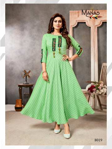 Manas Presents Classic Vol 3 Rayon Embroidery Work Kurti Collections