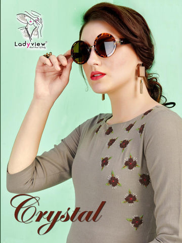 LADYVIEW CRYSTAL RUBY COTTON STRAIGHT KURTIS WITH EMBROIDERY