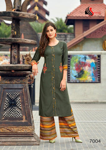 SAWAN CREATION DANI VOL.7 ORGANIC LINEN RAYON KURTI WITH PLAZO