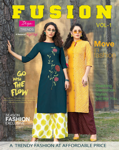 DIYA TRENDS PRESENTS FUSION VOL 1 KURTI COLLECTION WITH PLAZO