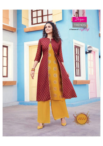 DIYA TRENDS PRESENTS SCARLETT VOL 1 KURTI WITH SHRUG