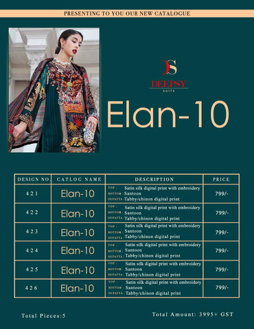 Deepsy Suits Elan Vol 10 Satin Silk Pakistani Wear Suits