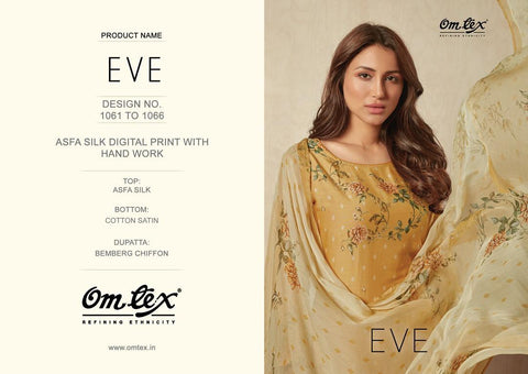 OMTEX EVE ASFA SILK DIGITAL PRINT DRESS MATERIAL WITH HANDWORK