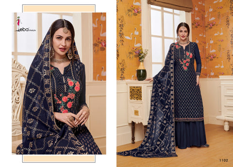 Eba Lifestyle Mount Black Vol 2 Georgette Embroidered Designer Salwar Kameez In Wholesale