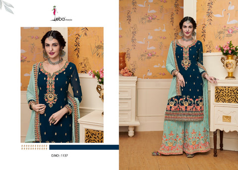 Eba Lifestyle Hurma Vol 26 Geogette Embroidered Designer Salwar Suit