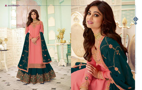 AASHIRWAD CREATION FIZZA DESIGNER GEORGETTE WEDDING WEAR DRESS MATERIAL
