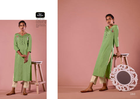 FOUR BUTTONS COLORS 7 KURTI WITH HEAVY COTTON KURTI WITH EMBROIDERY