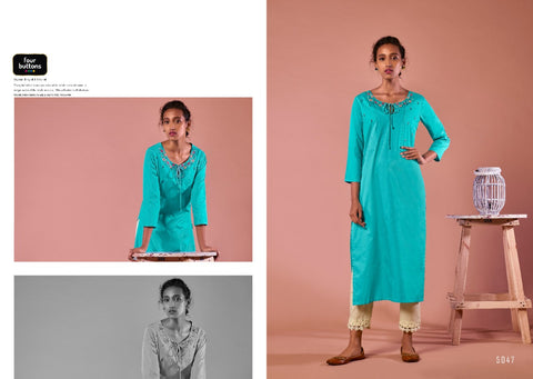 Four Button Colors Vol 7 Pure Cotton Work Kurti Collection