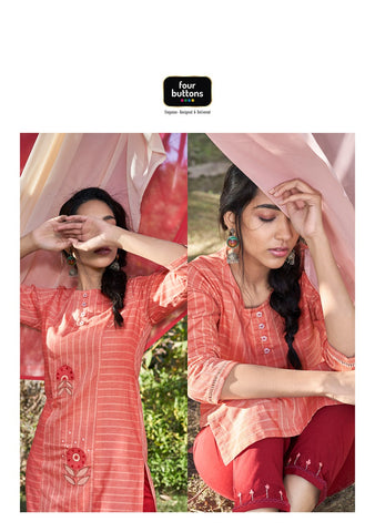 Four Buttons Presents Peach Pure Cotton Daily Wear Kurtis Collection And Pants