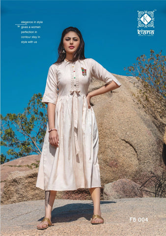 Kiana Fashion Free Bird Western Stylish Embroidery Kurti Collection
