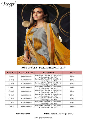 GANGA FASHION BAND OF GOLD PURE SILK EMBROIDERY AND HAND WORK SUIT