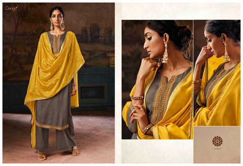 Ganga Suit Ipsit Makhnali Chiffon Fabric With Heavy Work Salwar Suit