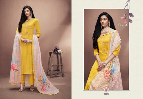 Ganga Suits Azalea Silk Cotton Embroidery Work Casual Collection