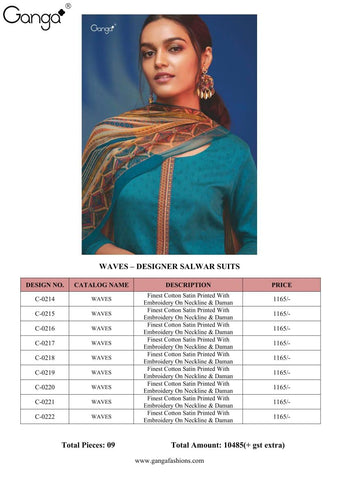 GANGA SUITS PRESENTS WAVES COTTON SATIN SUITS WITH EMBROIDERY