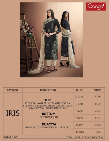 Ganga Suits Iris Cotton Lawn Printed Embroiderey Collection Salwar Suits