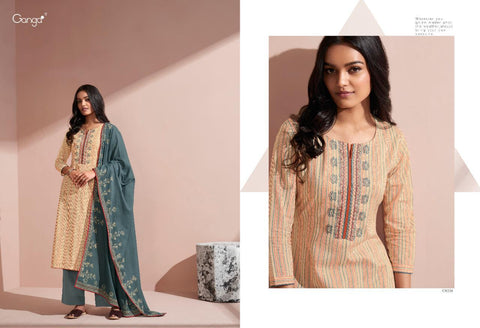Ganga Suits Sunshine Cotton Printed With Embroiderey Suit Collection