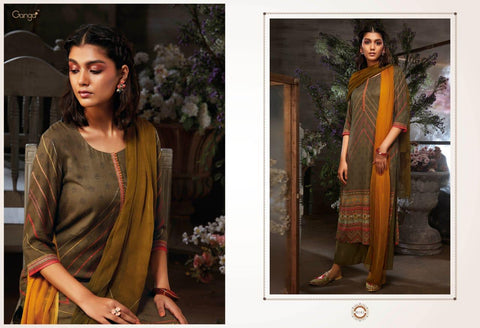 Ganga Suits Azen Cotton Satin Embroidered Print Work Suit In Wholesale