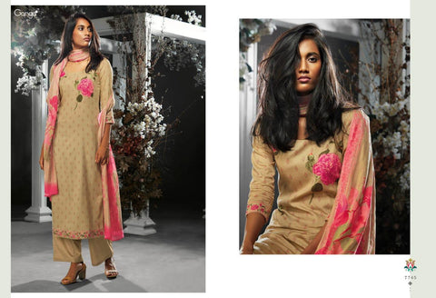 Ganga Suit Tashim Cottton Satin Embroidered Designer Salwar Kameez