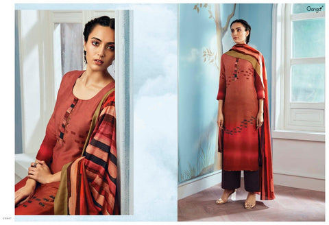 Ganga Suits Wings Of A Cloud Bemberg Silk Embroidered Designer Suit In Wholesale