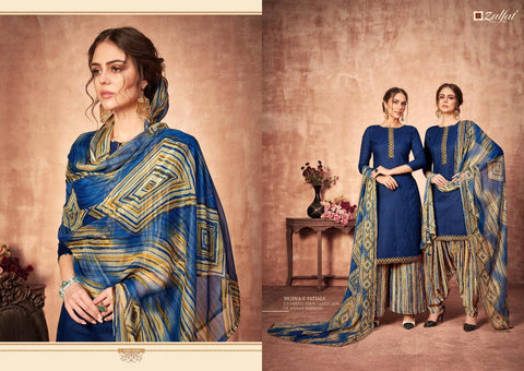 ZULFAT DESIGNER HUSNA–E–PATIALA HEAVY JAM COTTON KASHMIRI STYLE DRESS MATERIAL