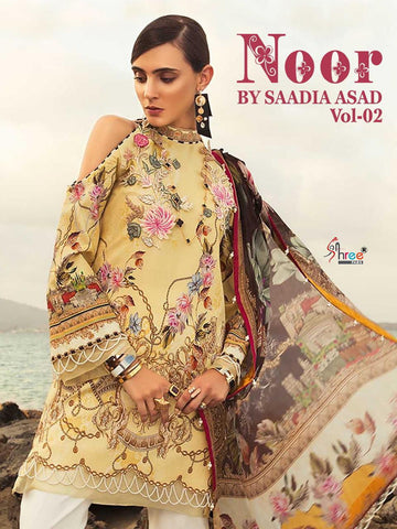 Shree Fabs Presents Noor By Sadiya Asad Vol 2 Embroidery Cotton Print Pakistani Suit In Wholesale