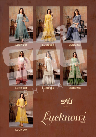 S4U SHIVALI LUCKNOWI VOL 3 HEAVY EXCLUSIVE LUCKNOWI WORK GOWN KURTI