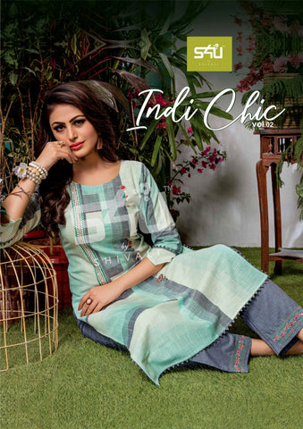 S4U BY SHIVALI INDI CHIC VOL.2 CASUAL OFFICE WEAR KURTI WITH PANTS