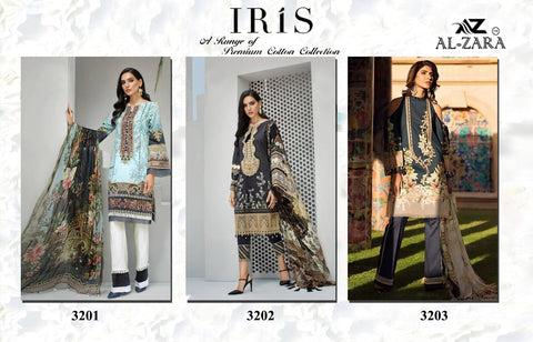 Al Zara Present Iris Heavy Embroidery Party Wear Salwar Suits Collection