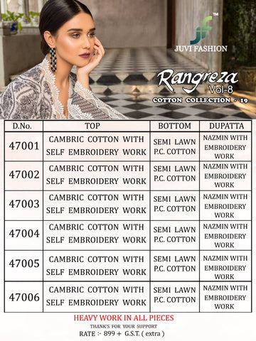 Juvi Fashion Rangreza Vol 8 Cotton Cambric Pakitani Suit In Wholesale