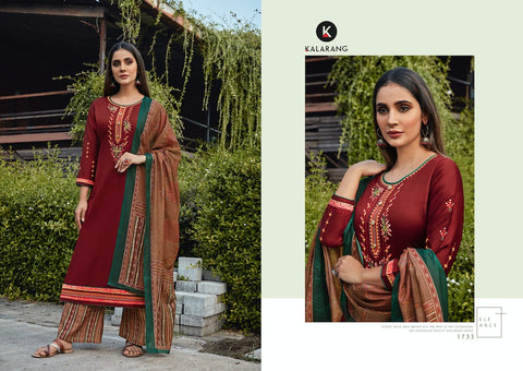 Kalarang Presents Renee Jam Satin With Embroidery Work Fancy Designer Salwar Kameez