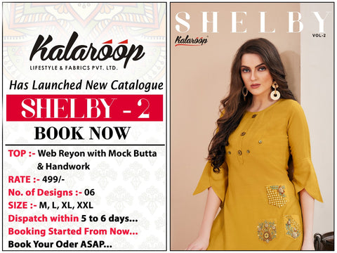 Kalaroop Presents Shelby Vol 2 Rayon Fancy Designer Kurtis Collections