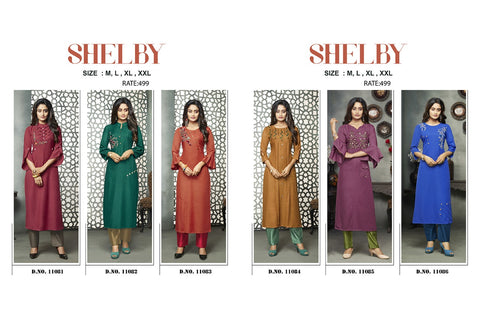 KALAROOP KAJREE SHELBY RAYON WITH BUTTA AND HANDWORK FANCY KURTI