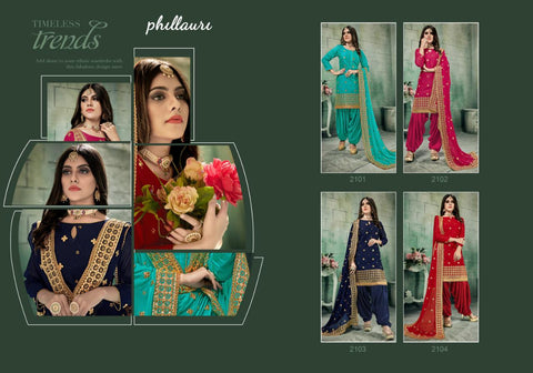 Kesari Exports Presents Phillauri Vol 21 Chanderi Silk Patiyala Fancy Designer Salwar Suits