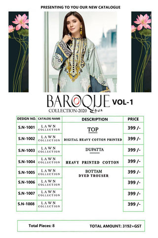 King Of Cotton Barooque Lawn Collection Pure Camric lawn Casual Wear Salwar Suits