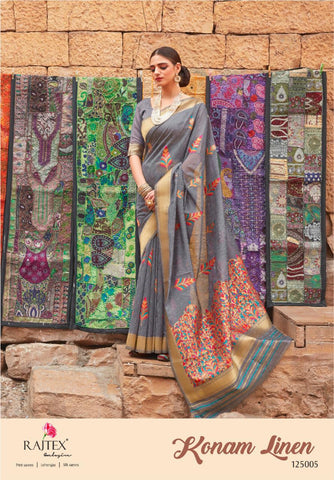 Rajtex Konam Linen Designer Party Wear Saree Collection