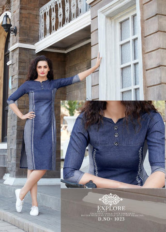 SERIEMA KUMB SLEECKER PURE DENIM ONE PIECE STYLE KURTI COLLECTION