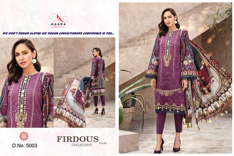 Kaara Suits Launched Firdous Lawn Collection Vol 5 Cotton Heavy Embroidery Casual Wear Salwar Kameez