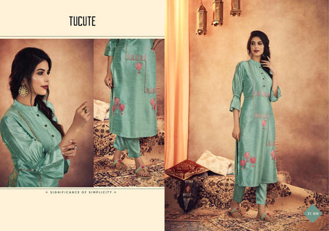 Karma Trendz Tucute Muga Silk With Embroidery Kurti