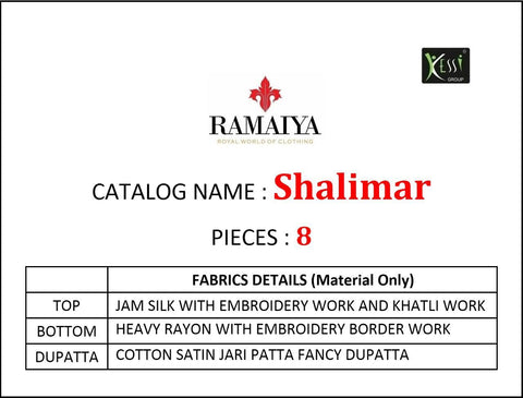 Kessi Fabrics Presents Ramaiya Shalimar Jam Silk Embroidery Dress Material
