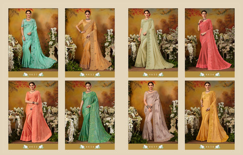 Kessi Fabrics Goras Pure Silk Designer Party Wear Collection Sarees In Wholesale