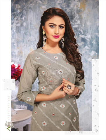 Kiana Launched Lucknowi Cotton Jacquard Casual Wear Kurtis Collection And Pants