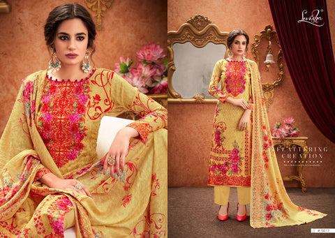 Levisha Falak Pure Satin Cotton Digital Print Aari Work Salwar Suit