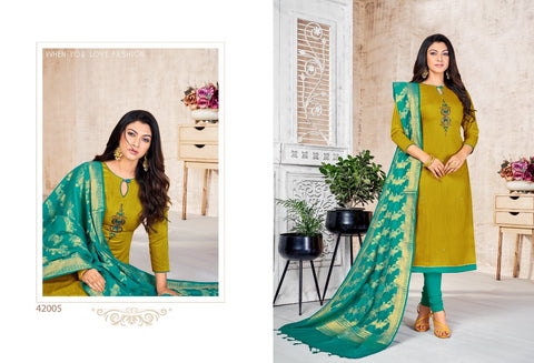 Lifeline Presents Banarasi Long Slub Fancy Deigner Salwar Suits