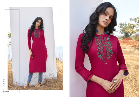 Kalaroop Lily Vol 17 Embroidered Stylish Casual Kurti Collection