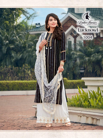 Ladies Flavour Presents Lucknowi Rayon Embroidery Work Stylish Designer Kurtis Collection