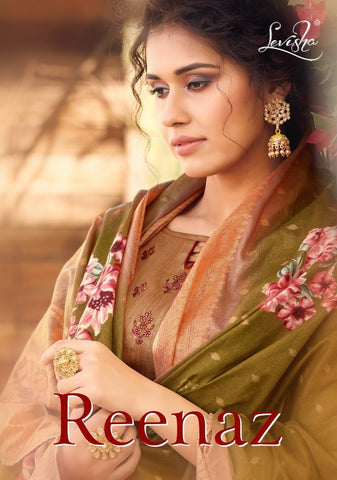 Levisha Presents Reenaz Satin Cotton Embroidered Suit Collection