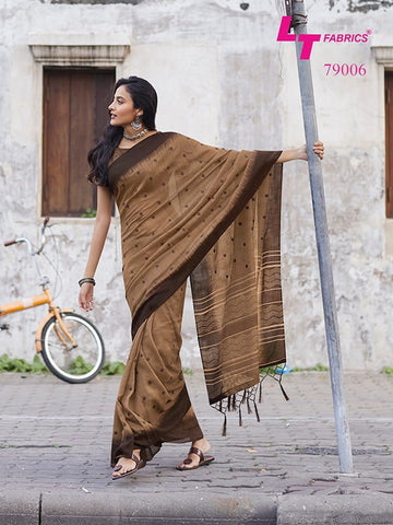 Lt Fashion Megha Linen Designer Fancy Saree Collection