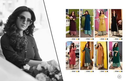VINAY FASHION MAGNET VOL.2 CASUALWEAR RAYON DOBBY KURTI WITH PLAZO